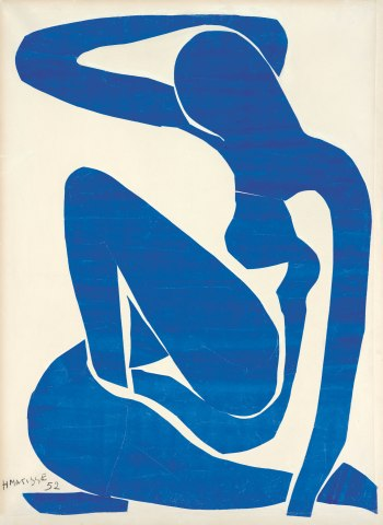 Henri Matisse (1869 -1964) Blue Nude (I) 1952 Gouache painted paper cut-outs on paper on canvas 106.30 x 78.00cm Foundation Beyeler, Riehen/Basel Digital image: Robert Bayer, Basel Artwork: © Succession Henri Matisse/DACS 2014